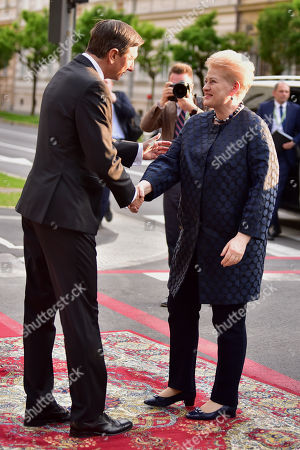 President of Slovenia Borut Pahor (L) welcomes President of Lithuania Dalia Grybauskaite (R) at the opening of the summit 'Three Seas Initiative' in Ljubljana, Slovenia 05 June 2019. Slovenia hosts the four summit 'Three Seas Initiative' on 05 - 06 June 2019.
