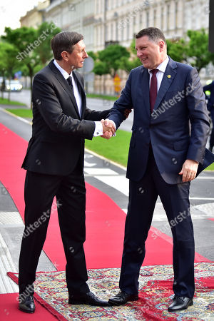 Stock Photo of President of Slovenia Borut Pahor (L) welcomes president of Latvia Raimonds Vejonis (R) at the opening of the summit 'Three Seas Initiative' in Ljubljana, Slovenia 05 June 2019. Slovenia hosts the four summit 'Three Seas Initiative' on 05 - 06 June 2019.