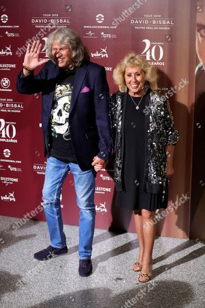 Jose Merce (L) and his wife pose for the media before a concert by Spanish singer David Bisbal who turns 40, at Teatro Real in Madrid, Spain, 05 June 2019.
