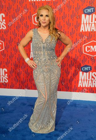 Mickie James arrives at the CMT Music Awards, at the Bridgestone Arena in Nashville, Tenn