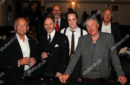 The Woman in Black current and original actors (L to R) Charles Kay (Arthur Kipps), Stuart Fox (Arthur Kipps), Robin Herford (Director), Matthew Spencer (The Actor), John Duttine (The Actor), Peter Wilson (Producer)
