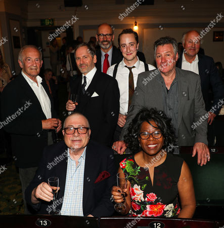 Front Row, Paul and Cilla Berry, the original winners of the 1989 Evening Standard competition to win the chance to invest in The Woman in Black with the both the original and current acting line ups (L to R) Charles Kay (Arthur Kipps), Stuart Fox (Arthur Kipps), Robin Herford (Director), Matthew Spencer (The Actor), John Duttine (The Actor), Peter Wilson (Producer)