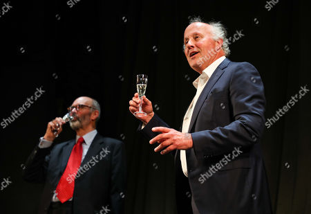 Peter Wilson (Producer), Robin Herford (Director) during the curtain call during the curtain call for the 30th anniversary performance of The Woman in Black at the Fortune Theatre.