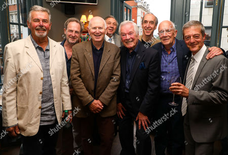 Previous actors who played the character Arthur Kipps in 'The Woman in Black' (L to R) Terance Wilton, Julian Forsyth, Ken Drury, Richard Hope, Frank Barrie, Michael Mears, Ian Lindsay, Malcolm James at the pre-show drinks for the 30th anniversary performance