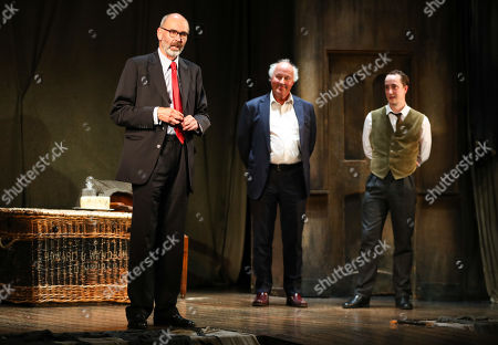 Stock Image of Robin Herford (Director), Peter Wilson (Producer), Matthew Spencer (The Actor) during the curtain call for the 30th anniversary performance of The Woman in Black at the Fortune Theatre.