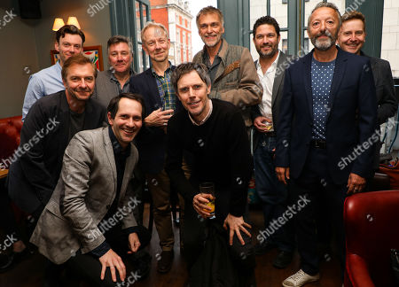 Previous actors who played the character The Actor in 'The Woman in Black' (L to R) Mark Hawkins, Ian Targett, John Duttine, Joseph Chance, Jamie Newell, Ben Porter, James Simmons, Daniel Coonan, Ian Reddington, Matt Connor at the pre-show drinks for the 30th anniversary performance