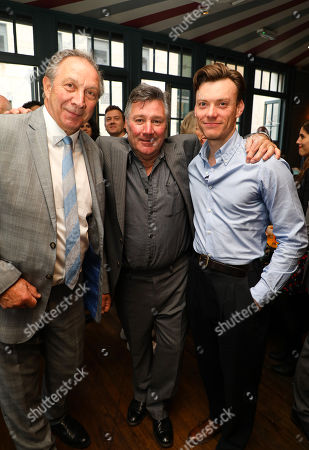 Stock Photo of Previous actors in the show, Richard Hope (Arthur Kipps), John Duttine (The Actor), Mark Hawkins (the Actor) at the pre-show drinks for the 30th anniversary showing of The Women in Black, shown at the Fortune Theatre