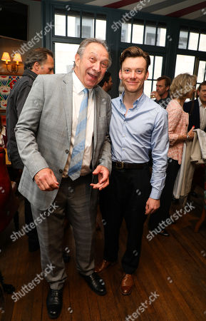 Stock Image of Previous actors in the show, Richard Hope (Arthur Kipps), Mark Hawkins (the Actor) at the pre-show drinks for the 30th anniversary showing of The Women in Black, shown at the Fortune Theatre