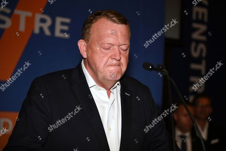Danish Prime Minister Lars Loekke Rasmussen (C) of the liberal party attends a press conference after the election results were announced during the Parliamentary Elections, at Christiansborg Castle in Denmark, 05 June 2019.