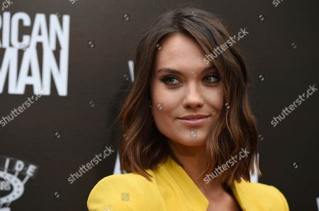"""Stock Image of Laura James poses at the premiere of the film """"American Woman"""" at the ArcLight Hollywood, in Los Angeles"""