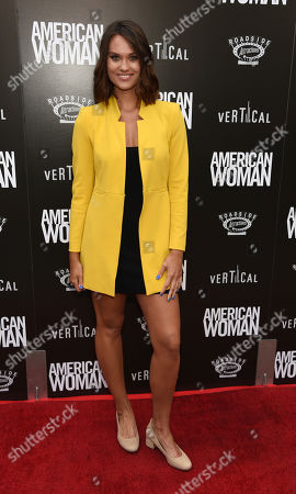 """Laura James poses at the premiere of the film """"American Woman"""" at the ArcLight Hollywood, in Los Angeles"""