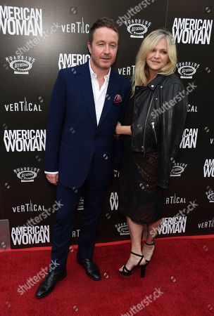 "Jake Scott, Leigh Goldstone Scott. Jake Scott, director of ""American Woman,"" poses with his wife Leigh at the premiere of the film at the ArcLight Hollywood, in Los Angeles"