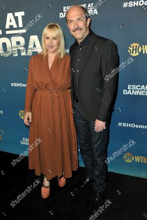 "Patricia Arquette, Paul Dano. Patricia Arquette, left, and Paul Dano attend ""Escape at Dannemora"" FYC event at NeueHouse Hollywood, in Los Angeles"