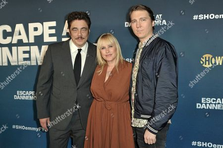 "Benicio del Toro, Patricia Arquette, Paul Dano. Benicio del Toro, left, Patricia Arquette and Paul Dano attend ""Escape at Dannemora"" FYC event at NeueHouse Hollywood, in Los Angeles"