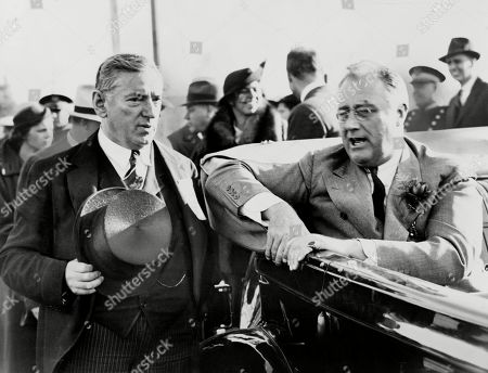 Franklin Roosevelt, talking with Gov. James Curley during 1936 campaign. The reckless Massachusetts Governor failed to get FDRs endorsement for his 1936 Senatorial bid, which he lost to the young Henry Cabot Lodge.