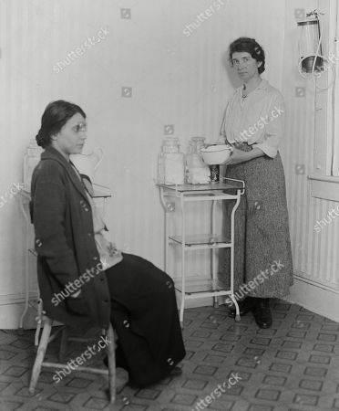 Margaret Sanger with Fania Mindell inside Brownsville, Brooklyn clinic. Oct. 27, 1916. Mindel, Sanger, and her sister, Ethel Byrne opened Brownsville clinic, the first birth control clinic of its kind in the United States. The clinic was closed nine days after its opening as Margaret Sanger was jailed for violating the Comstock obscenity laws.