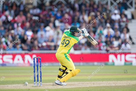 A thick edge for four brings up Steve Smith (Australia) half century during Australia vs West Indies, ICC World Cup Cricket at Trent Bridge on 6th June 2019