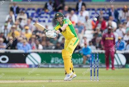 Steve Smith (Australia) clips the ball high into the leg side and is spectacularly caught by Sheldon Cottrell (West Indies) on the boundary edge during Australia vs West Indies, ICC World Cup Cricket at Trent Bridge on 6th June 2019
