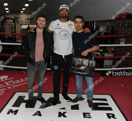 Behind The Scenes Exclusive With David Haye Fight Week. David Haye Press Conference London With Tony Bellew. 03/05/18 James Buckley David Haye And Adam Morallee.
