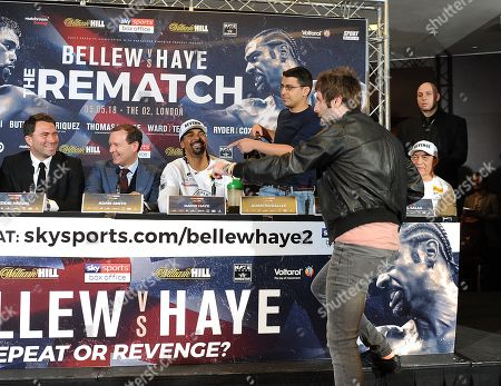 Behind The Scenes Exclusive With David Haye Fight Week. David Haye Press Conference London With Tony Bellew. 03/05/18 James Buckley Aka Jay The Inbetweeners Storms The Press Conference To Give Adam Morallee A Briefcase.