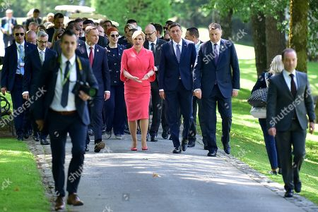 President of Latvia Raimonds Vejonis (R), President of Slovenia Borut Pahor (2-R), President of Croatia Kolinda Grabar-Kitarovic (3-R) and President of Poland Andrzej Duda (4-R) walk together after the summit 'Three Seas Initiative' in Brdo pri Kranju, Slovenia, 06 June 2019. The two-day summit, 05 and 06 June, is attended by heads of state of 12 central and eastern European countries.