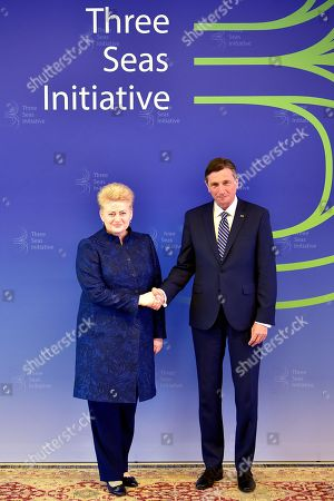 President of Slovenia Borut Pahor (R) welcomes President of Lithuania Dalia Grybauskaite (L) at the opening of the summit 'Three Seas Initiative' in Brdo pri Kranju, Slovenia, 06 June 2019. The two-day summit, 05 and 06 June, is attended by heads of state of 12 central and eastern European countries.