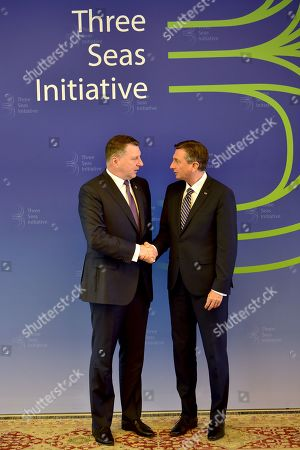 President of Slovenia Borut Pahor (R) welcomes President of Latvia Raimonds Vejonis (L) at the opening of the summit 'Three Seas Initiative' in Brdo pri Kranju, Slovenia, 06 June 2019. The two-day summit, 05 and 06 June, is attended by heads of state of 12 central and eastern European countries.