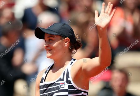 Ashleigh Barty of Australia reacts after winning against Madison Keys of the USA during their women?s quarter final match during the French Open tennis tournament at Roland Garros in Paris, France, 06 June 2019.