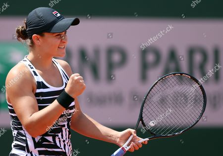 Ashleigh Barty of Australia reacts as she plays Madison Keys of the USA during their women?s quarter final match during the French Open tennis tournament at Roland Garros in Paris, France, 06 June 2019.