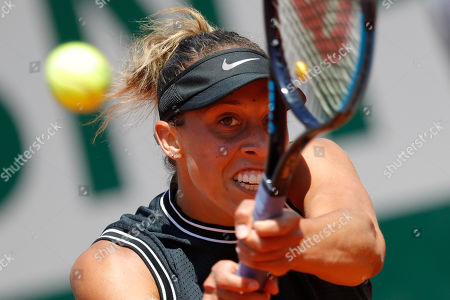 Madison Keys of the U.S. plays a shot against Australia's Ashleigh Barty during their quarterfinal match of the French Open tennis tournament at the Roland Garros stadium in Paris