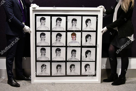 Brian Duffy David Bowie Aladdin Sane contact sheet, 1973, estimate £25,000-30,000