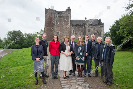 Fiona Hyslop with local councillor Evelyn Tweed (red) Gary Treacy Historic Scotland and Caroline Warburton