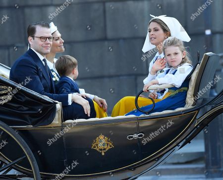 Crown Princess Victoria, Prince Daniel, Princess Madeleine and Princess Estelle leave the Royal Palace for the traditional National Day celebrations at Skansen in Stockholm