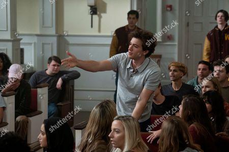 Stock Image of Alex Fitzalan as Harry Bingham, Olivia DeJonge as Elle Tomkins and Jack Mulhern as Grizz