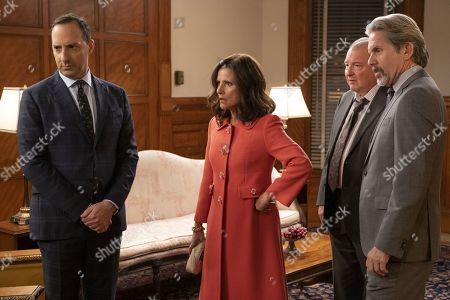 Tony Hale as Gary Walsh, Julia Louis-Dreyfus as Selina Meyer, Kevin Dunn as Ben Cafferty and Gary Cole as Kent Davison