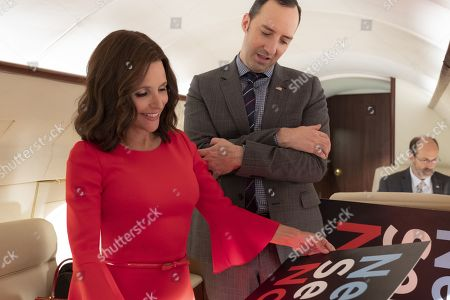 Julia Louis-Dreyfus as Selina Meyer, Tony Hale as Gary Walsh and Brian Huskey as Leon West