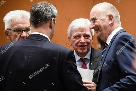 (L-R) Premier of Baden-Wuerttemberg Winfried Kretschmann, Premier of Bavaria Markus Soeder, Premier of Hesse Volker Bouffier and Premier of Brandenburg Dietmar Woidke during a meeting with the federal states' heads of governments at the Chancellery in Berlin, Germany, 06 June 2019. German Chancellor Merkel is holding a regular meeting with the German federal states' heads of regional governments to discuss on digitisation, the implementation of the energy system transformation, current European policy issues, and more.