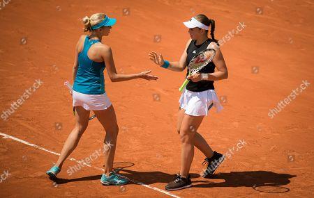 Lyudmyla Kichenok of the Ukraine & Jelena Ostapenko of Latvia during their doubles quarter-final match