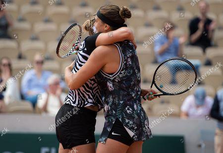 Arena Sabalenka of Belarus & Elise Mertens of Belgium during their doubles quarter-final match