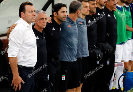 Iran's head coach Marc Wilmots (L) before the International Friendly soccer match between Iran and Syria at the Azadi stadium in Tehran, Iran, 06 June 2019.