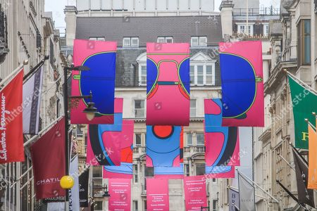 Flag artwork by Sir Michael Craig-Martin in New Bond Street as part of the RA Summer Exhibition