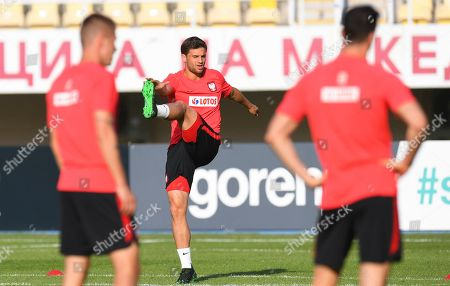 Polish national soccer team player Bartosz Bereszynski (C) attends the team's training session in Skopje, North Macedonia, 06 June 2019. Poland will face North Macedonia for a  UEFA EURO 2020 qualifier match on 07 June in Skopje.