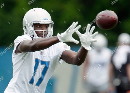 Detroit Lions wide receiver Andy Jones (17) makes a reception during NFL football training camp, in Allen Park, Mich