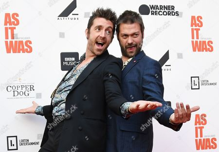 Miles Kane (L) and Kasabian band singer Tom Meighan (R) pose for photographs as he arrives for the film premiere of 'As It Was' at Alexander Palace in London, Britain, 06 June 2019. The documentary focusses on British singer Liam Gallagher's solo career.
