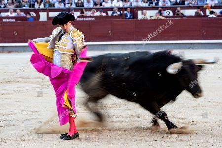 Spanish bullfighter Alberto Lopez Simon fights a bull during the San Isidro Bullfighting Fair at the Las Ventas bullring in Madrid, Spain, 06 June 2019.