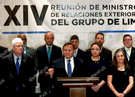 The Peruvian Foreign Minister, Nestor Popolizo (C-L), offers statements along with his counterparts of Costa Rica, Manuel Ventura (L); of Guatemala, Sandra Jovel (2-R), and of Canada, Chrystia Freeland (R), among others, during a press conference at the end of the meeting of foreign ministers of the Group of Lima, in Guatemala City, Guatemala, 06 June 2019. The Lima Group urged the international community to 'take action' against the 'illegitimate' and 'dictatorial' regime of Nicolas Maduro in the face of the growing humanitarian crisis in Venezuela.