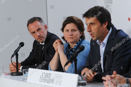 Olympic Day and Festival of Sport press conference, with Emmanuel Gregoire (First deputy of Anne Hidalgo the maire of Paris city), Roxana Maracineanu (French minister of Sports) and Tony Estanguet (President of Paris 2024)
