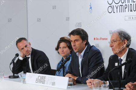 Olympic Day and Festival of Sport press conference, with Emmanuel Gregoire (First deputy of Anne Hidalgo the maire of Paris city), Roxana Maracineanu (French minister of Sports), Tony Estanguet (President of Paris 2024) and Denis Masseglia (President of CNOSF)
