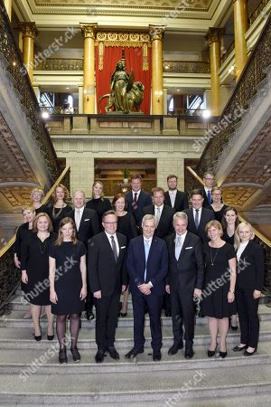 Ministers of the new Finnish government pose. Minister of Family Affairs and Social Service Krista Kiuru, front row left, Education Minister Li Andersson, Finance Minister Mika Lintila, Prime Minister Antti Rinne, Foreign Minister Pekka Haavisto, Justice Minister Anna-Maja Henriksson and Interior Minister Maria Ohisalo, Minister of Science and Culture Annika Saarikko, middle row left, Minister of Agriculture and Forestry Jari Leppa, Minister of Local Government and Ownership Steering Sirpa Paatero, Defence Minister Antti Kaikkonen, Minister for Nordic Cooperation and Equality Thomas Blomqvist, Minister of the Environment Krista Mikkonen and Minister of Transport and Communications Sanna Marin, Minister of Social Affairs and Health Aino-Kaisa Pekonen, back row left, Minister for European Affairs Tytti Tuppurainen, Economic Affairs Minister Katri Kulmuni, Minister for Development Cooperation and Foreign Trade Ville Skinnari, Minister of Employment Timo Harakka and Chancellor of Justice Tuomas Poysti.