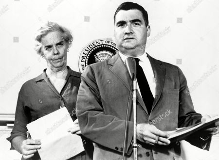 Stock Image of Presidential press secretary Pierre Salinger and Dr. Janet Travell reporting on President Kennedys health in June 1961. Many of Kennedys serious health concerns remained secret.